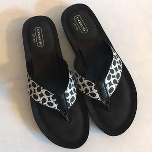 Coach Black Flip Flops Sandals